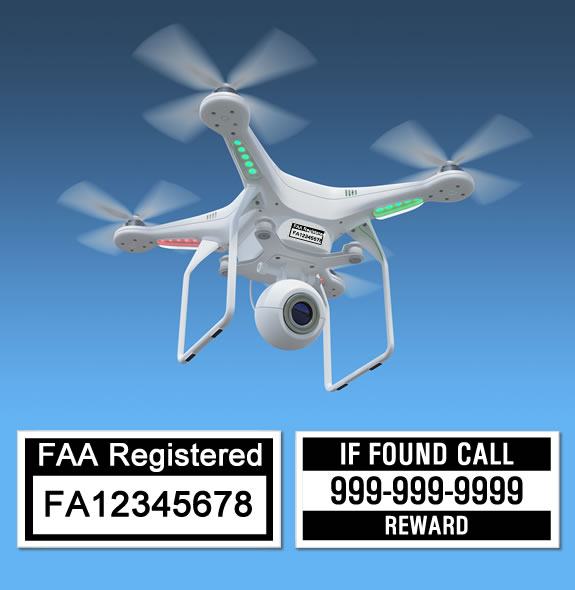 Drone hovering in air displaying FAA Registration number labels
