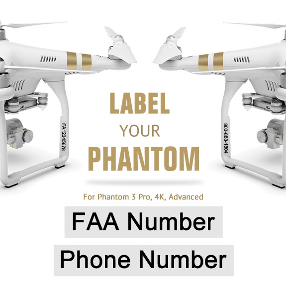 Drone Label with FAA UAS Registration and Phone Number