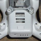 Drone labels applied to DJI Phantom drone