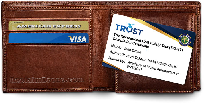 TRUST - Recreational UAS Safety Test Completion Certificate and wallet